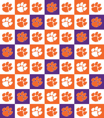 "Clemson Tigers Cotton Fabric 42""-Collegiate Check"