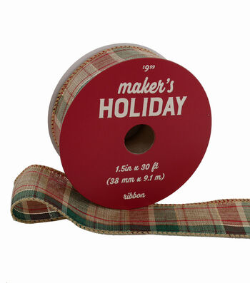 Maker's Holiday Ribbon 1.5''x30'-Red, Green, Ivory & Gold Plaid