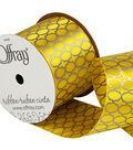 Offray 2.25\u0022 x 9\u0027 Geo Ribbon-Yellow/Gray