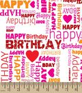 Happy Birthday Love Print Fabric