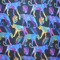 Silky Print Textured Fabric-Black Cheetah