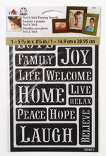 FolkArt 5.63''x8.25'' Peel & Stick Painting Stencils-Happy Words, , hi-res