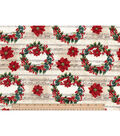 Maker\u0027s Holiday Cotton Fabric 43\u0022-Holly Wreaths and Music