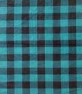 Anti-Pill Plush Fleece Fabric-Teal Black Buffalo Check