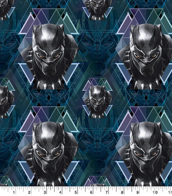 "Marvel Black Panther Cotton Fabric 43""-Tossed Heads"