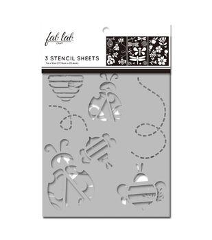 Fab Lab 3 pk 7''x10'' Stencil Sheets-Bugs & Flowers