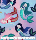 Novelty Cotton Fabric-Glitter Tie Dye Mermaids