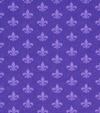 Mardi Gras Cotton Fabric-Fleur De Lis Purple