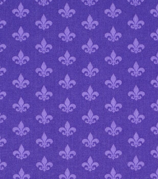 Mardi Gras Cotton Fabric-Fleur De Lis Purple