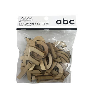 Fab Lab Craft 36 pk Lowercase Alphabet Letters-Natural