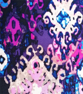 Stretch Chiffon Fabric 57''-Purple Blurred Diamond