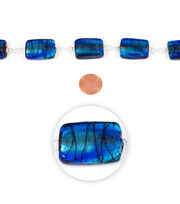 Blue Moon Strung Art Glass Beads,Flat Rectangle,Light & Dark Blue,Swirl, , hi-res