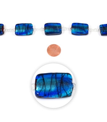 Blue Moon Strung Art Glass Beads,Flat Rectangle,Light & Dark Blue,Swirl
