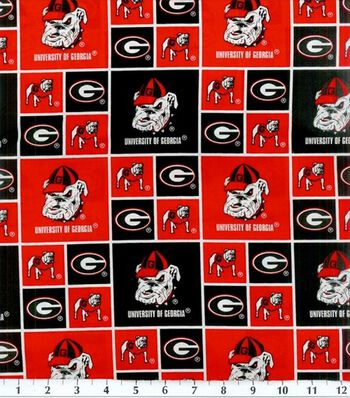 University of Georgia Bulldogs Cotton Fabric -Block