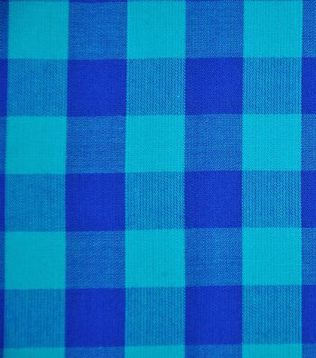 Cotton Shirting Fabric 42''-Blue & Turquoise Big Gingham