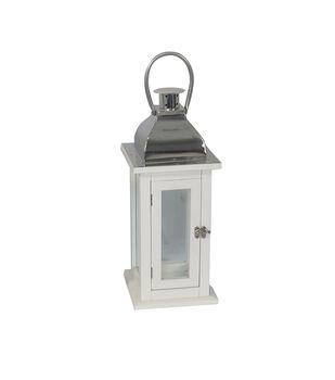 Hudson 43 19.38'' Wood Lantern-White & Silver