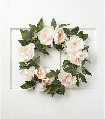 Fresh Picked Spring 22'' Peony & Leaves Wreath-Cream