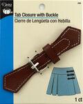 Tab Closure W/Silver Buckle-Brown 1/Pkg