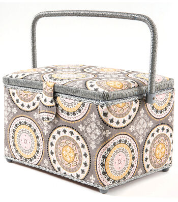 Sewing Basket Large Rectangle-Medalgrey Pink