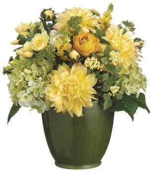 Bloom Room Luxe 16'' Dahlia, Hydrangea & Freesia In Ceramic-Yellow
