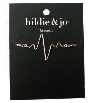 hildie & jo 8'' Metal Heartbeat Bracelet-Silver