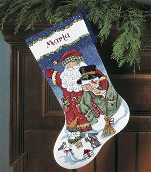 santa snowman stocking counted cross stitch kit - Cross Stitch Christmas Stockings
