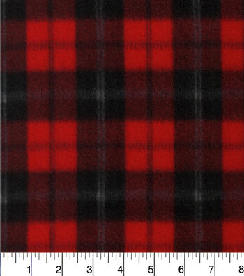 Blizzard Fleece Fabric -Red & Black Plaid