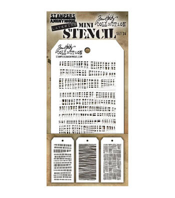 Stampers Anonymous Tim Holtz 3 pk Mini Layering Stencil Set #34