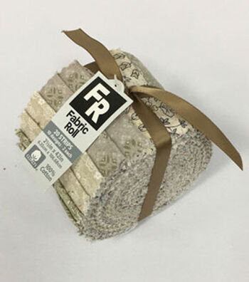 Jelly Roll Cotton Fabric Pack 2.5''x42''-Cream