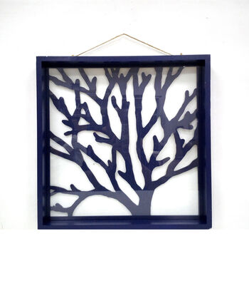 Indigo Mist Glass Wall Decor-Blue Coral