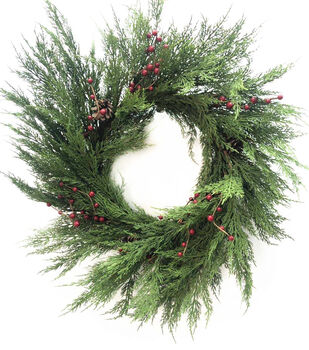 Handmade Holiday Christmas 30'' Cypress Leaf & Red Berry Wreath