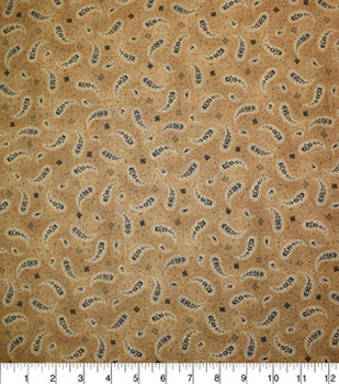 Premium Quilt Cotton Fabric-Paisley Scattered Brown