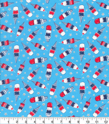 Patriotic Cotton Fabric-Ice Cream Cones
