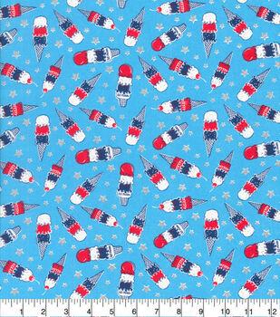 Patriotic Cotton Fabric-Ice Cream Cones