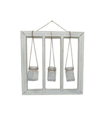 Fresh Picked Spring Wood Frame with Glass Hanging Bottles-White