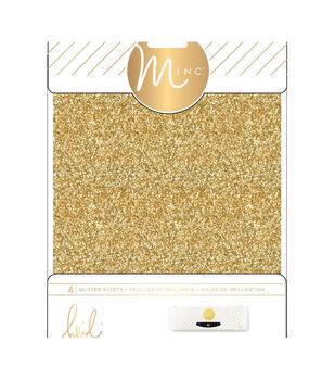 """Heidi Swapp Minc Glitter Sheets 6""""X8"""" 4/Pkg-Gold"""