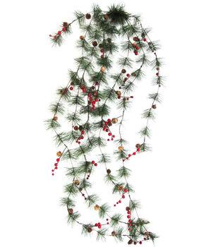 Handmade Holiday Christmas Spider Pine, Pinecone & Red Berry Garland