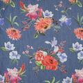 Blue Mum & Iris Floral Cotton Denim Fabric