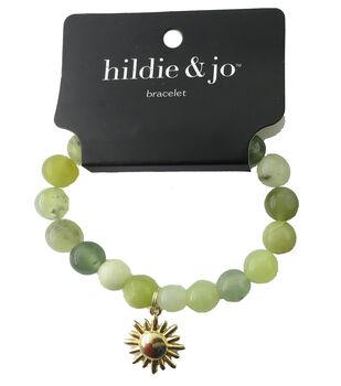 hildie & jo Beads Stretch Bracelet-Ivory & Green with Gold Charm