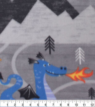 Blizzard Fleece Fabric-Knights & Castles on Gray