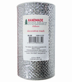 Handmade Holiday Metallic Decorative Mesh Ribbon 5.5''x30'-Silver