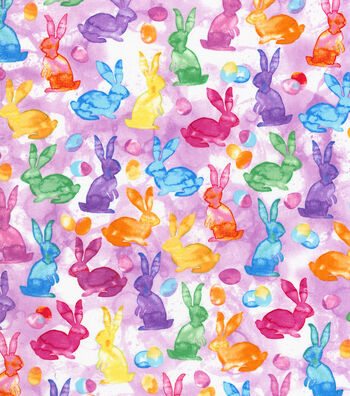 Easter Cotton Fabric 44''-Watercolor Bunnies