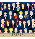 Doctor Who Cotton Fabric 43\u0022-Many Faces