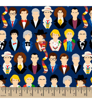 Doctor Who Cotton Fabric -Many Faces