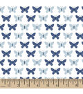 Snuggle Flannel Fabric -Butterfly Set Navy