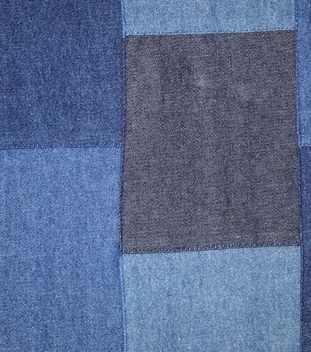"Sportswear Denim Fabric 44""-Dark Wash Patchwork"