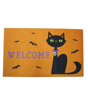 Maker's Halloween Rubber Door Mat-Welcome & Cat
