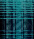 Specialty Fleece Fabric-Teal Mica & Black Plaid