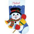 Design Works Snowman With Broom Stocking Felt Applique Kit