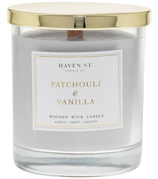 Haven St. Candle Co. Patchouli & Vanilla Scented Wooden Wick Jar Candle